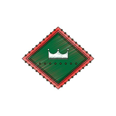 crown in diamond shape emblem icon image vector illustration design