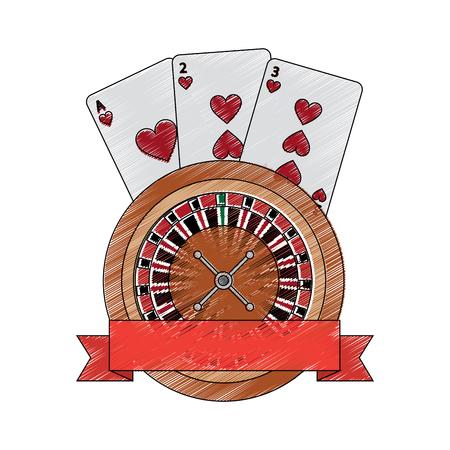 カード エンブレム カジノでルーレット関連アイコン画像ベクトル イラスト デザイン