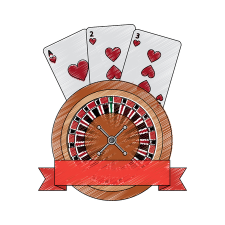 roulette with cards emblem  casino related icons image vector illustration design 版權商用圖片 - 90184478