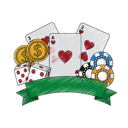 cards with chips dice and coins emblem casino related icons image vector illustration design