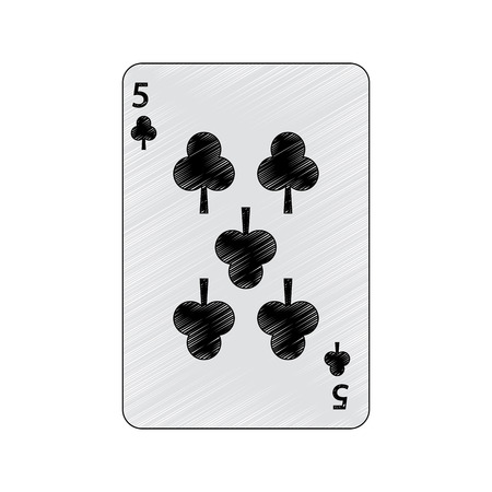 five of clover or clubs french playing cards related icon image vector illustration design Illustration