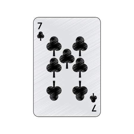 Siete de tréboles o clubes tarjetas de juego francés relacionadas con el diseño de ilustración de vector de imagen de icono Foto de archivo - 90184636