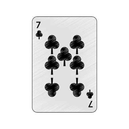 seven of clover or clubs french playing cards related icon image vector illustration design