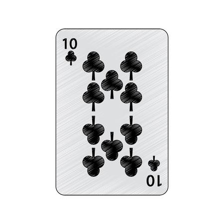 Diez del trébol o de los clubs juego de naipes francés relacionado diseño del ejemplo del vector de la imagen del icono Foto de archivo - 90184638