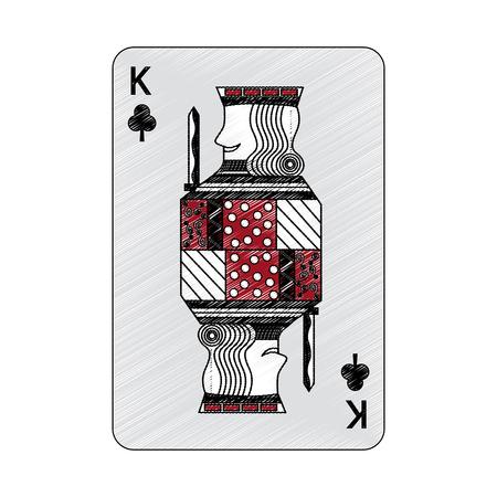 클로버 또는 클럽의 왕 프랑스 카드 놀이 관련 아이콘 이미지 벡터 일러스트 디자인