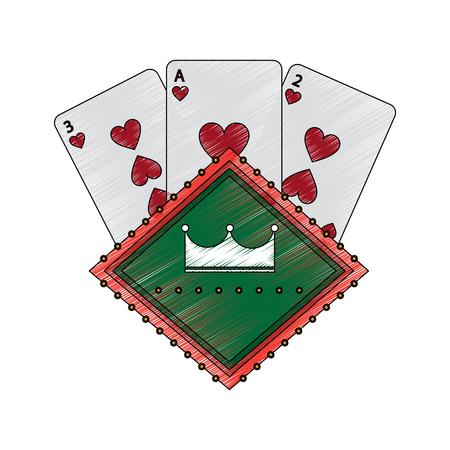 cards with crown emblem casino related icons image vector illustration design