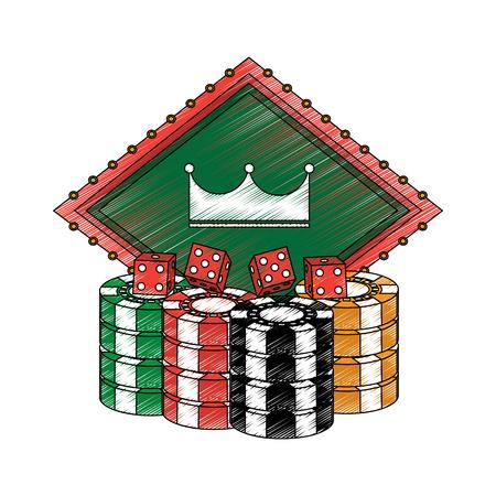 Chips mit Kronenemblem und Würfel Kasino bezogen sich Ikonenbildvektor-Illustrationsdesign Standard-Bild - 90185604