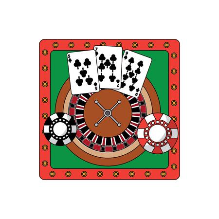 Roulettetisch mit Karten- und Chipkasino bezog sich Ikonenbildvektor-Illustrationsdesign Standard-Bild - 90185917