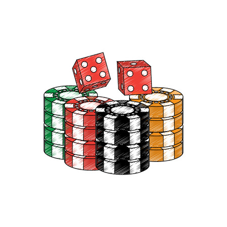 chips with dice casino related icons image vector illustration design Фото со стока - 90185919