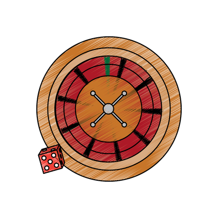 roulette with dice casino related icons image vector illustration design
