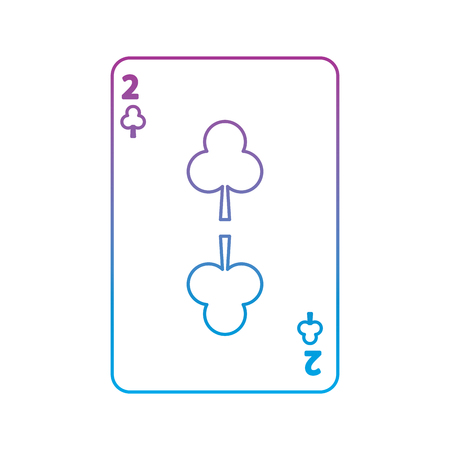 two of clover or clubs french playing cards related icon image vector illustration design  purple to blue ombre line