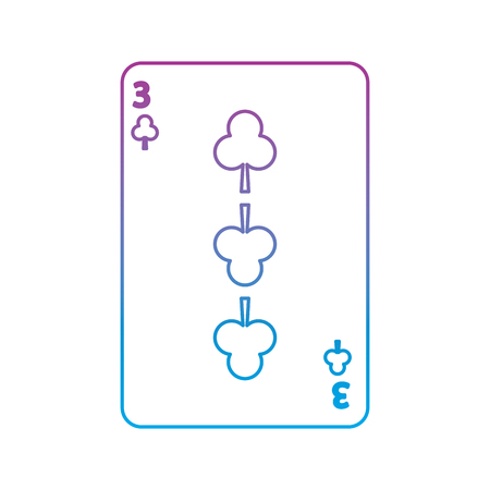 three of clover or clubs french playing cards related icon image vector illustration design  purple to blue ombre line