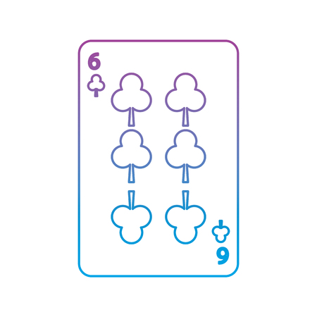 six of clover or clubs french playing cards related icon image vector illustration design  purple to blue ombre line