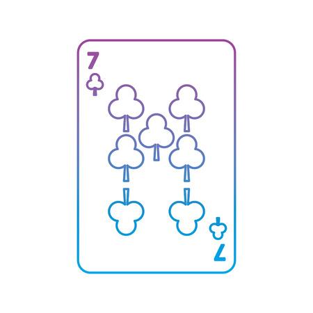 Siete de trébol o clubes juego de cartas francés icono relacionado imagen vector ilustración diseño púrpura a línea ombre azul Foto de archivo - 90186081