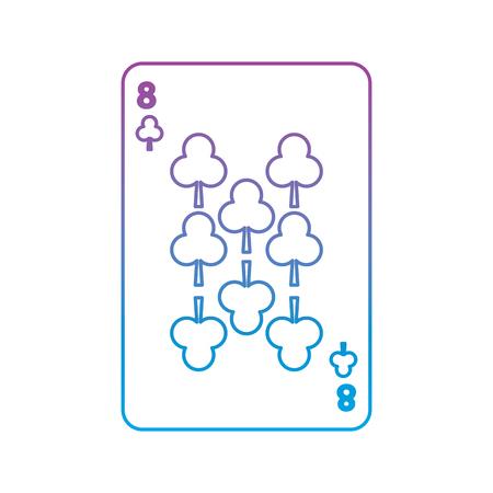 Oito de trevo ou clubes de cartas de jogar francês relacionados ícone imagem vector ilustração design roxo para azul de linha de ombre Foto de archivo - 90186083