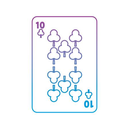 Diez de trébol o clubes juego de cartas francés icono relacionado ilustración de vector de imagen púrpura a azul línea de ombre Foto de archivo - 90186085