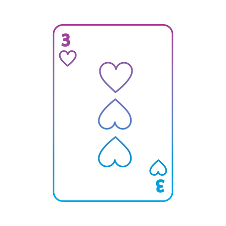three of hearts french playing cards related icon image vector illustration design  purple to blue ombre line