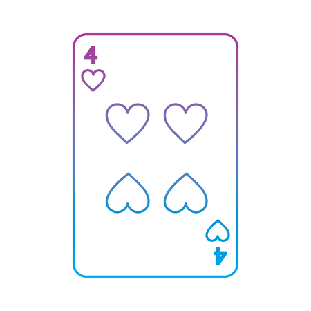 four of hearts french playing cards related icon image vector illustration design  purple to blue ombre line Illustration