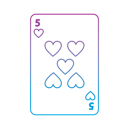 five of hearts french playing cards related icon image vector illustration design  purple to blue ombre line