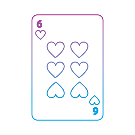 six of hearts french playing cards related icon image vector illustration design  purple to blue ombre line
