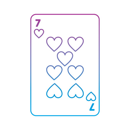 seven of hearts french playing cards related icon image vector illustration design  purple to blue ombre line