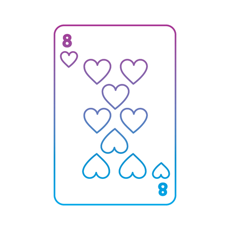 eight of hearts french playing cards related icon image vector illustration design  purple to blue ombre line Illustration