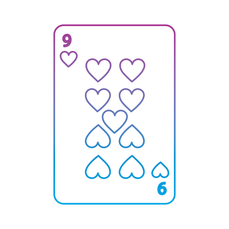 nine of hearts french playing cards related icon image vector illustration design  purple to blue ombre line Illustration