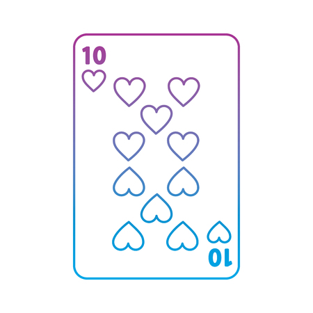 ten of hearts french playing cards related icon image vector illustration design  purple to blue ombre line