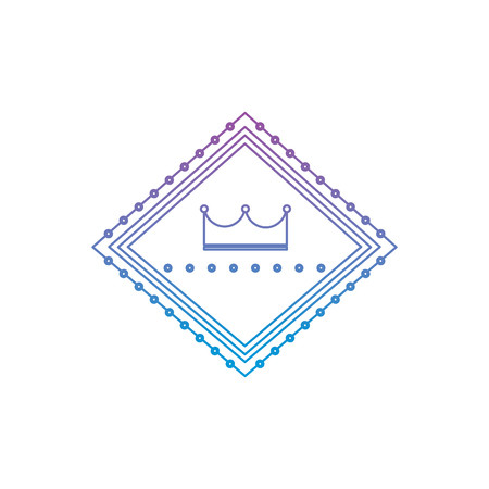 crown in diamond shape emblem icon image vector illustration design  purple to blue ombre line Ilustrace