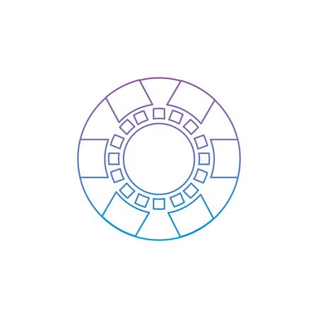 Chip Casino verwandte Symbole Bild Vektor Illustration Vektor blau zu blau Ombre Linie Standard-Bild - 90186123