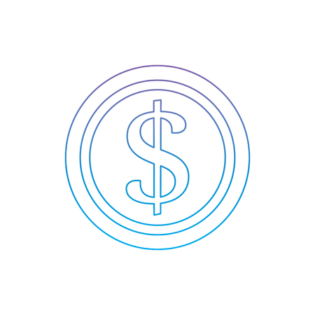 coin money icon image vector illustration design  purple to blue ombre line