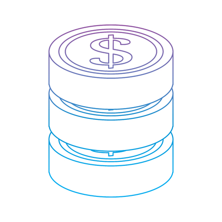 coins money icon image vector illustration design  purple to blue ombre line 向量圖像