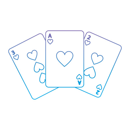 hearts suit french playing cards icon image vector illustration design  purple to blue ombre line Illustration