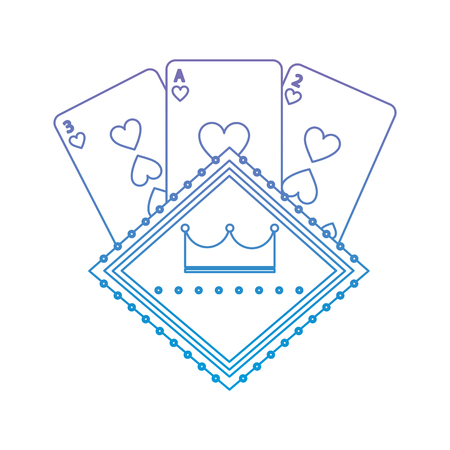 cards with crown emblem casino related icons image vector illustration design  purple to blue ombre line