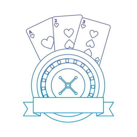 カード エンブレム カジノでルーレット関連アイコン画像ベクトル オンブル ラインを青に紫イラスト デザイン