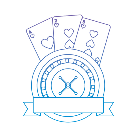 roulette with cards emblem  casino related icons image vector illustration design  purple to blue ombre line
