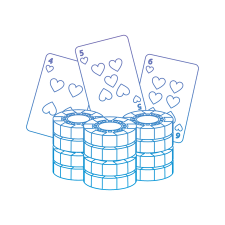cards with chips casino related icons image vector illustration design  purple to blue ombre line