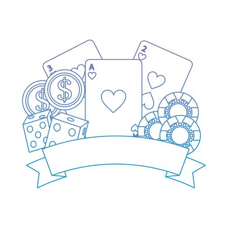 Poker del casinò con i dadi delle carte da gioco e l'illustrazione di vettore dell'insegna dei chip di gioco Archivio Fotografico - 90186142