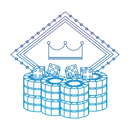 pocker casino board couronne jeu hasard emblème avec dés puces vector illustration