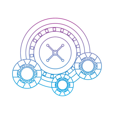 casino roulette wheel with chips fortune risk vector illustration Ilustracja