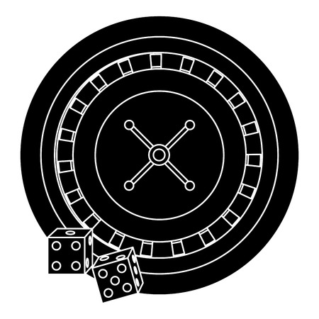 カジノのルーレット、ポーカー ダイス賭博のアイコン ベクトル図