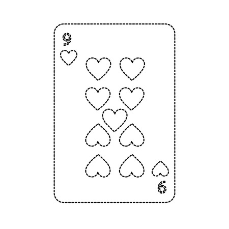 nine of hearts french playing cards related icon image vector illustration design