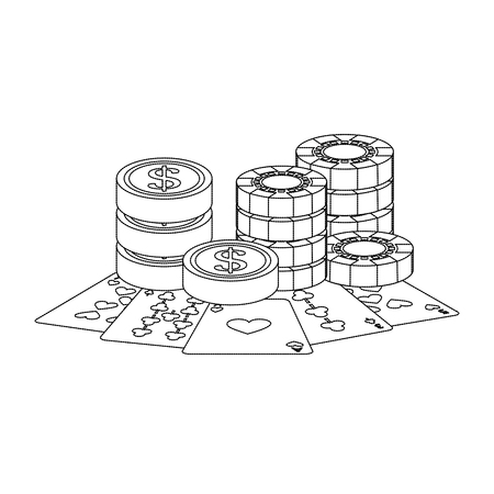 chips coins cards casino related icons image vector illustration design Фото со стока - 90188224