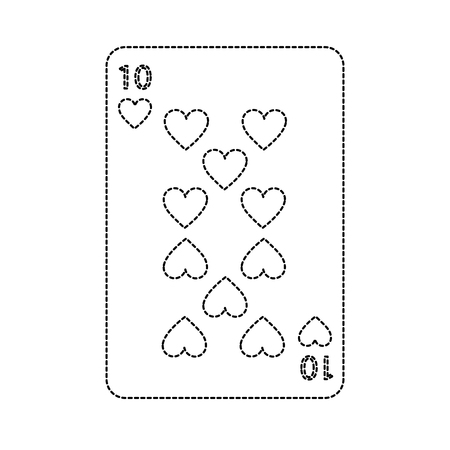 ten of hearts french playing cards related icon image vector illustration design