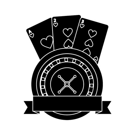 casino roulette wheel banner with game cards vector illustration