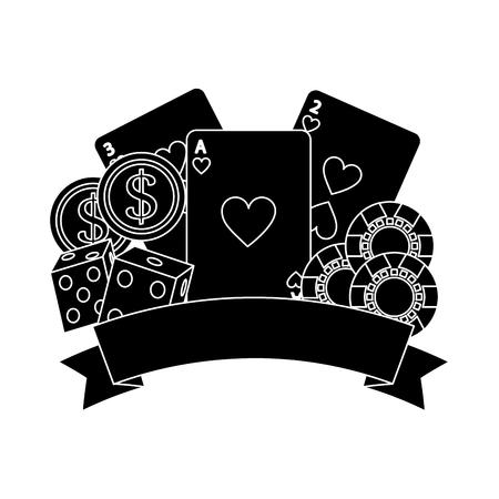 カードのサイコロを演奏し、ギャンブルのカジノ ポーカー チップ バナー ベクトル図  イラスト・ベクター素材