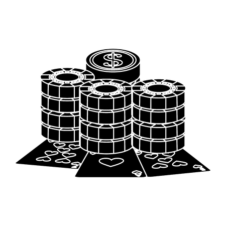 playing cards with casino coins and stack chips gambling vector illustration Banco de Imagens - 90189198