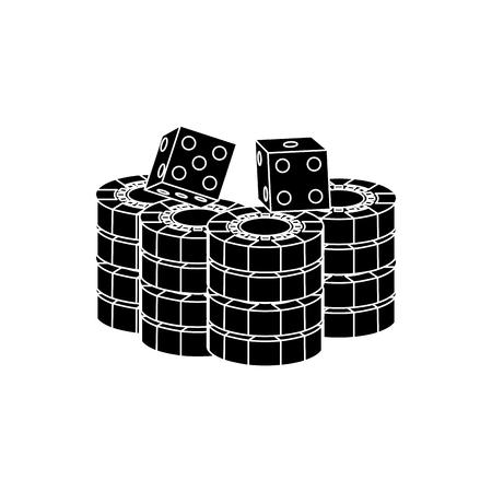 積層チップ、カジノでのゲームのサイコロ ベクトル イラスト
