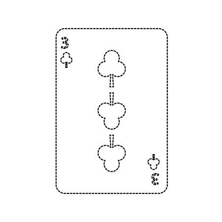 three of club playing card theme casino vector illustration