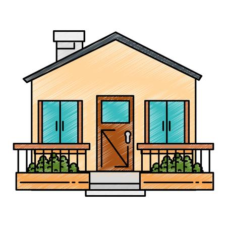 Schöne Vorderseite der Haus Vektor-Illustration Design Standard-Bild - 90189245